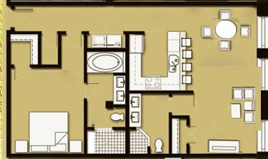 1 Bedroom 2 Bath Unit 03 - 1030 Sq Ft